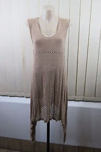 Size L 14 Ladies Brown Tunic Layer Knit Dress Boho Chic Festival Casual Design | eBay