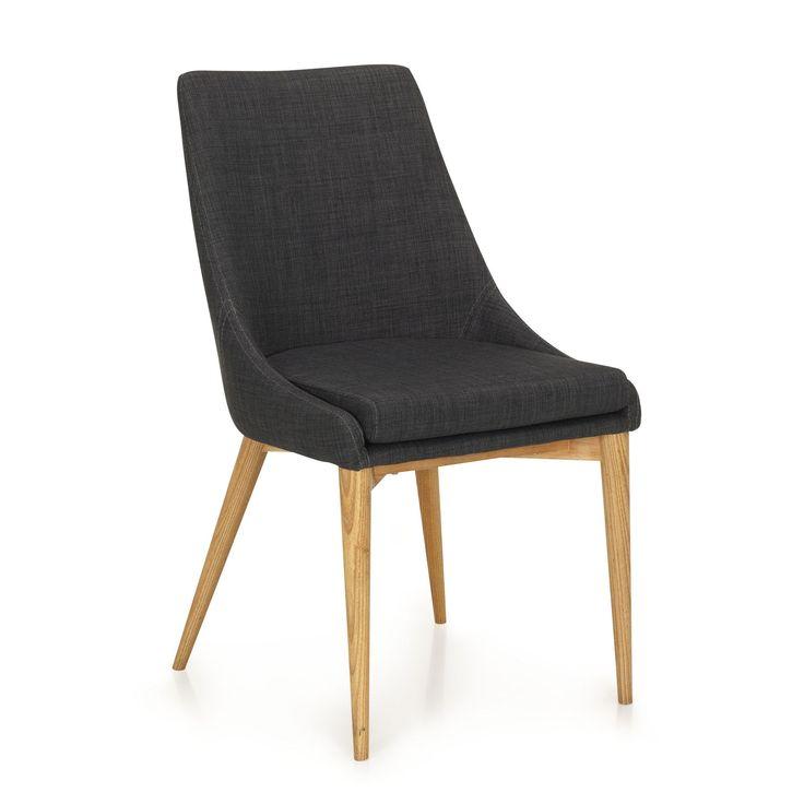 Chaise en hévéa et frêne gris foncé esprit scandinave Gris foncé - Abby - Chaises - Tables et chaises - Salon et salle à manger - Décoration d'intérieur - Alinéa