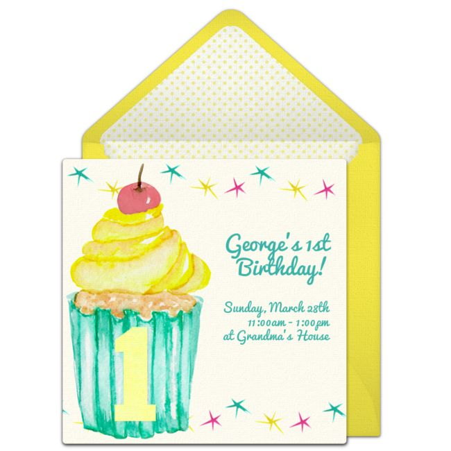 220 best free party invitations images on pinterest free party a beautiful free birthday party invitation featuring a 1st birthday cupcake design we love this stopboris Choice Image