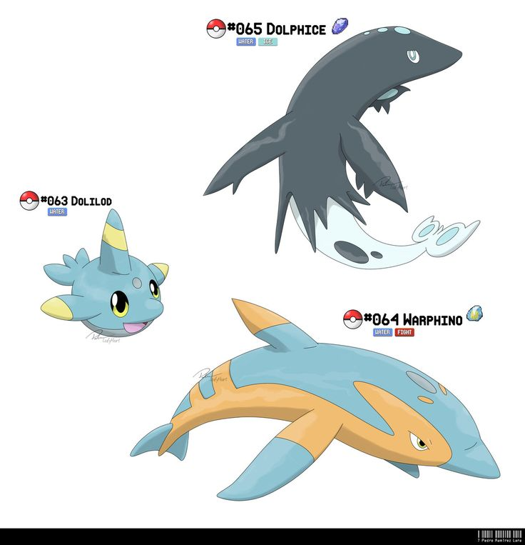 063, 064, 065 - Dolphin Fakemon by ~LeafyHeart on deviantART