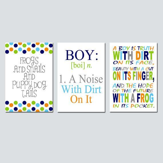 Boy Nursery Art Trio  Kids Wall Art  Boy Definition A by Tessyla, $69.50