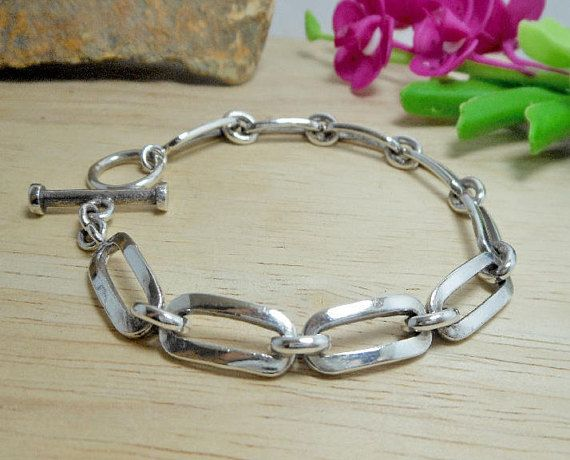 Unisex 7.5 mm Wide Solid Sterling Silver Round Square Link