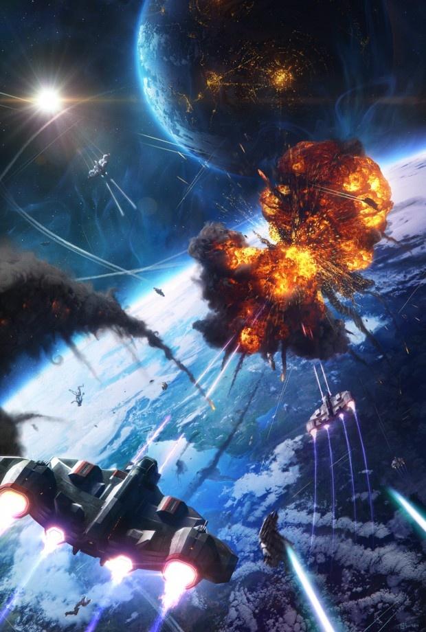 Space battle.