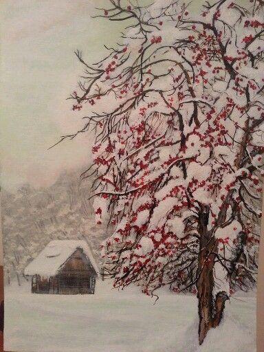 Snow paint by Artist Özlem Erkorol 35 x 45 Acrylic painting on press canvas