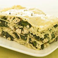 Chicken & Pesto Lasagna-substitute low fat cheese and whole wheat lasagna noodles. I'd also add red onions , spinach and tomatoes!!