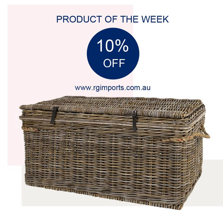 Each Sunday we will be offering you 10% OFF one of our favourite products for seven days.  Tonight we bring you this traditional vintage rattan storage trunk… great in the living room as a coffee table, in the bedroom at the end of the bed, or on the verandah to store sporting equipment!  Simply enter code: TRUNK10 at checkout to receive your discount until midnight 12.6.16 at www.rgimports.com.au