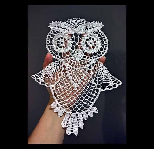 This Owl can be used as doily, hanging decoration or a motif for t-shirt or bag. The size after starching and stretching is about 20x25. You will need about 100 m of Anchor Aida 20 or similar yarn and crochet size 0.75/1.0. Time needed depends on your skills, for me it was about 3 hours (when my pattern was ready :)). It's not an easy piece to make however, therefore I wouldn't recommend it for beginners unless they love owls a lot :)