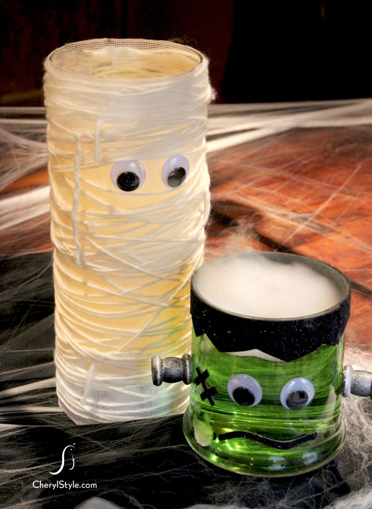 DIY mummy halloween centerpiece