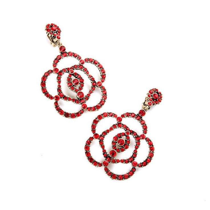 Fashion Drop Earrings - Yhaline Hollowed Big Red Rhinestone Flower Dangle  Earrings