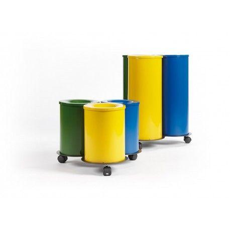 Papeleras Reciclaje Papelera metálica ignífuga con base rodante y tres piezas para separación de residuos. Dos medidas disponibles. Capacidad 21 y 39 litros.