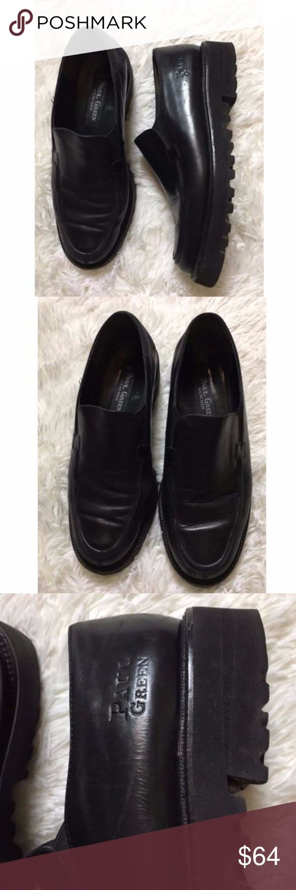 Paul Green 7 Jojo Loafer Black Leather Platform Paul Green 7 Womens Jojo Loafer Black Leather Mod Platform Sole Slip ons sz 7 Womens size 7 Size is missing, I am estimating size 7 by fit. I am a size 7 and they fit perfectly, thank you Paul Green Shoes Flats & Loafers