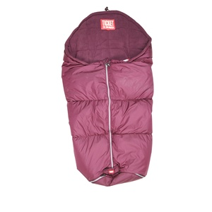 Purple sleeping bag for trips in the baby buggy. Waterproof with a warm down filling.