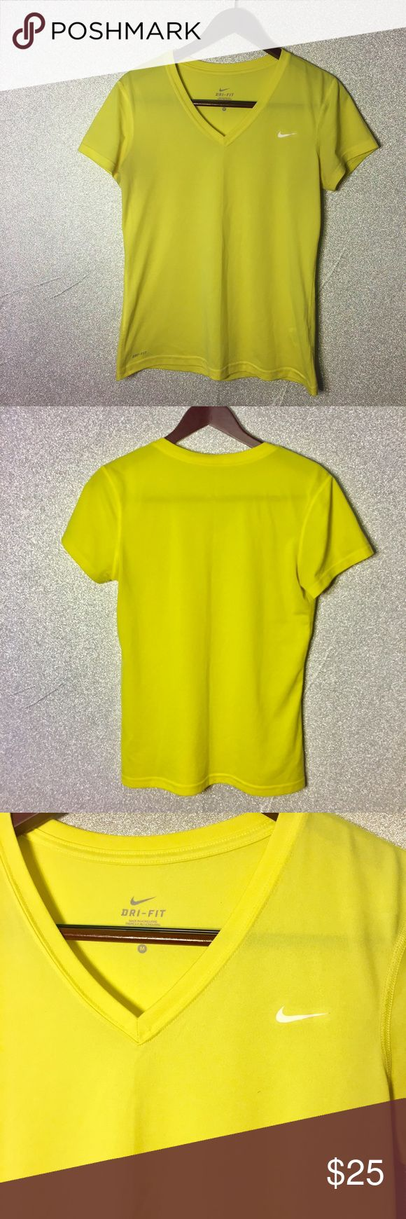Nike Dri-Fit v neck short sleeve yellow shirt SZ M Nike Dri-Fit V neck fitness shirt bright yellow SZ M Preowned excellent condition no stains rips or holes Nike Tops Tees - Short Sleeve