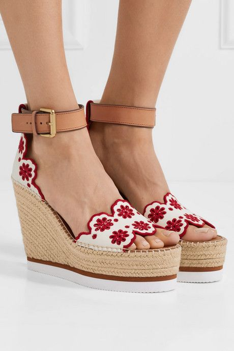 cba85ebb1 Embroidered laser-cut suede and leather espadrille wedge sandals in ...
