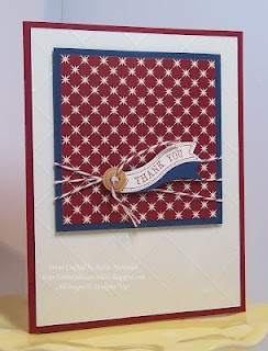 Fun patriotic card done with Christmas paper.