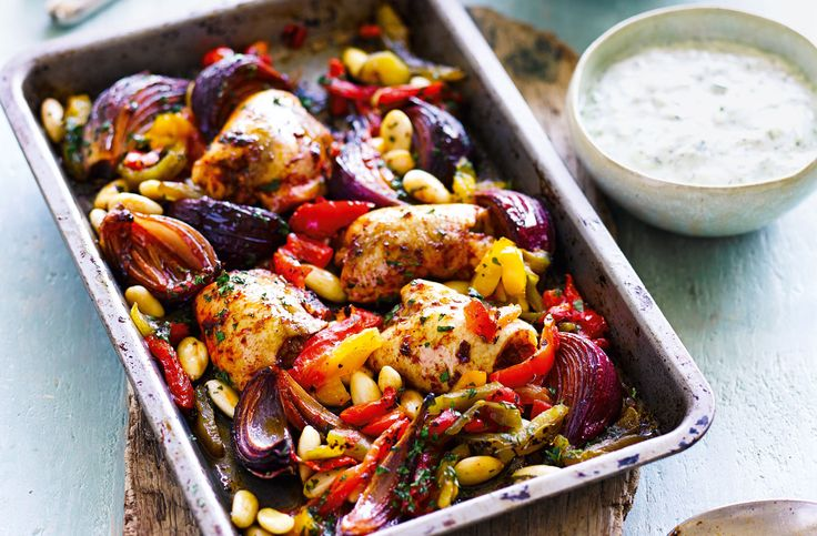This spicy harissa-baked chicken with Mediterranean couscous and the fresh taste of tzatziki, combines flavours of Morocco and Greece to make a simple yet tasty meal for two.