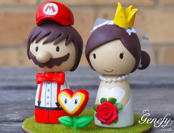 Cute Super Mario wedding cake topper with love flower by GenefyPlayground