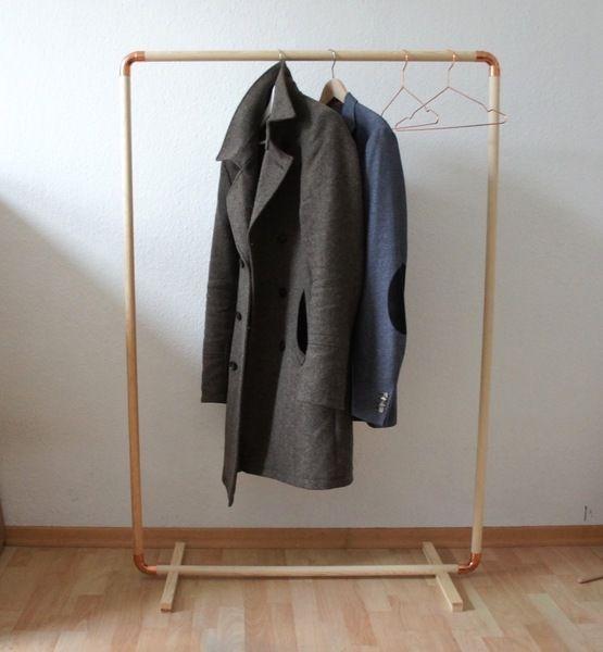 Kleiderschränke - DIY: Wood & Copper Cloth Rack TALL - ein Designerstück von Calvill bei DaWanda
