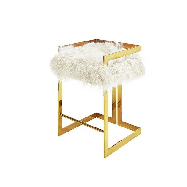 """EMMETT MONW - COUNTER HEIGHT BRASS STOOL WITH WHITE MONGOLIAN FUR CUSHION    - SEAT HEIGHT: 27"""""""