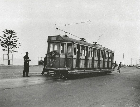 Tram making the last run for Rockdale to Brighton-Le-Sands 03 Sep 1949