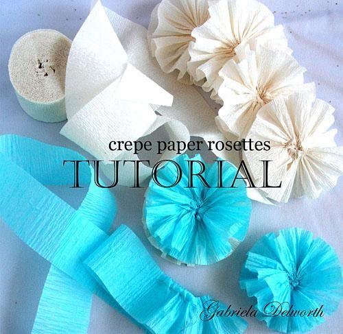 DIY crepe paper flowers : DIY Crepe Paper Rosettes.