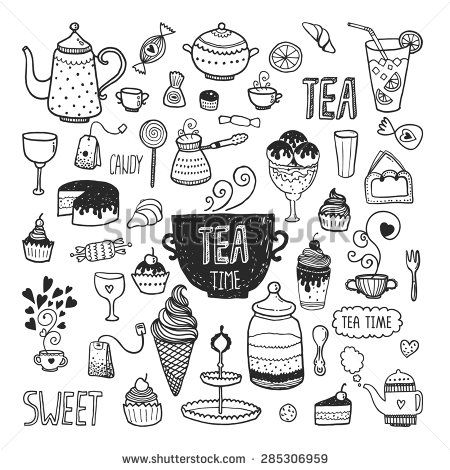 Hand drawn tea time collection, vector doodle set with teapots, glass, cupcake, decoration, tea, ice cream, cup and sweets