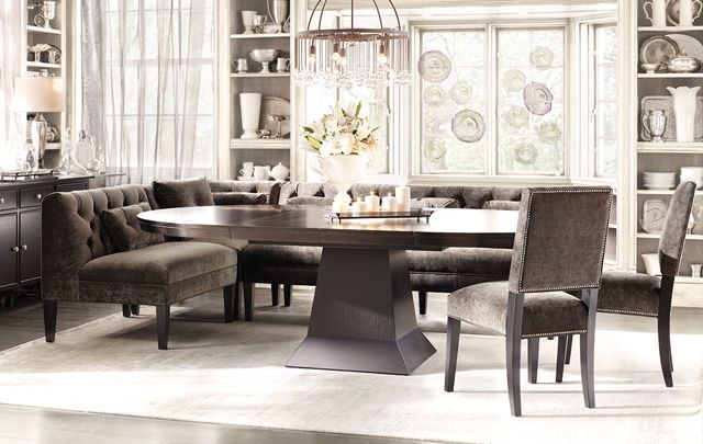 An oval dining table would be better than a round table in a long narrow room you still get - Long narrow dining room ...