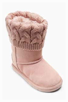 Knit Detail Pull-On Boots (Younger Girls)