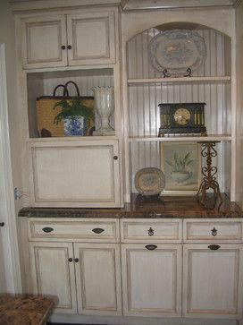 Appliance Garage/Beadboard/Recycling Bins/Antique Glazed Cabinets - mediterranean - kitchen - los angeles - by Barbara Stock