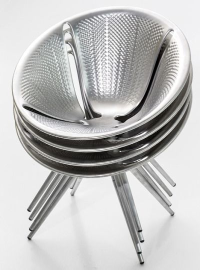 Aluminium stacking chairby Ross Lovegrove for Moroso #livingroomchairs  #diningroomchairs #chairdesign upholstered dining chairs, silver chair, upholstered chairs | See more at http://modernchairs.eu