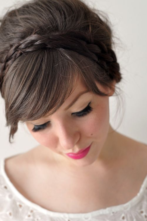 updo with bangs and a braid! ♥: Hair Ideas, Hair Tutorials, Wedding Hair, Holidays Hair, Hairstyle, Hair Style, Headbands Braids, Braids Headbands, Braids Hair
