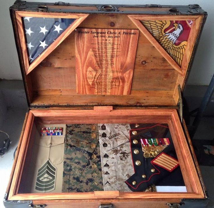 Chris' Antique Trunk Used as Marine Retirement Shadow Box and Storage Chest