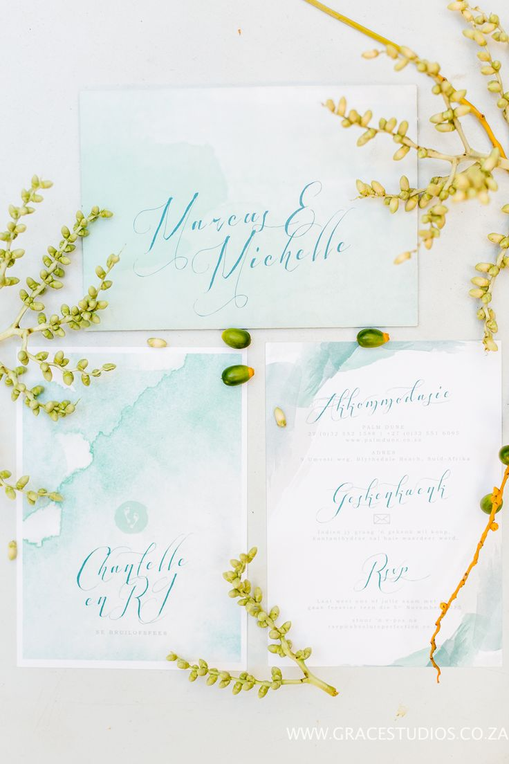 teal turquoise inspiration Beach themed water colour wedding invitation, South African Luxury Beach wedding:  http://www.absoluteperfection.co.za/#!CHANTELLE-AND-RJS-ROMANTIC-INTIMATE-BEACH-WEDDING/c1jar/57ad8b610cf2d58e4d0423e6