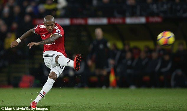 Ashley Young scored twice for Manchester United as they beat Watford 4-2 on Tuesday