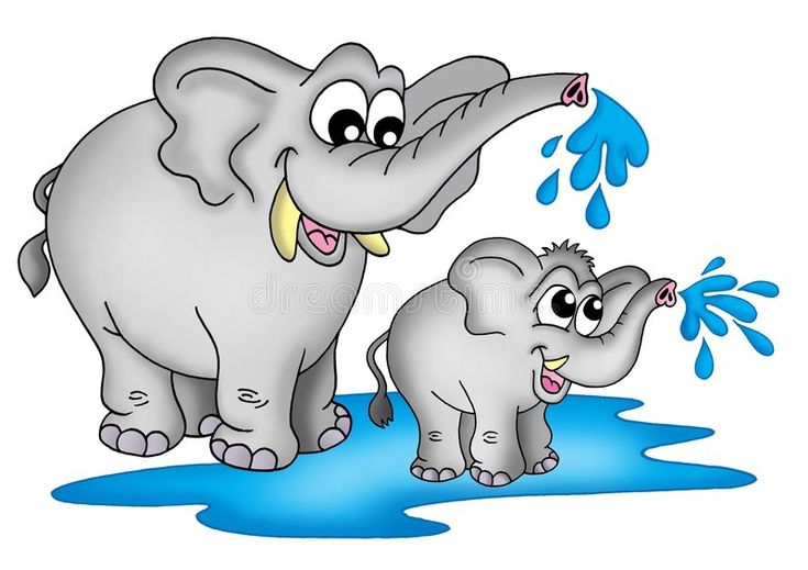 Elephants. Illustration of two elephants. One small a one ...