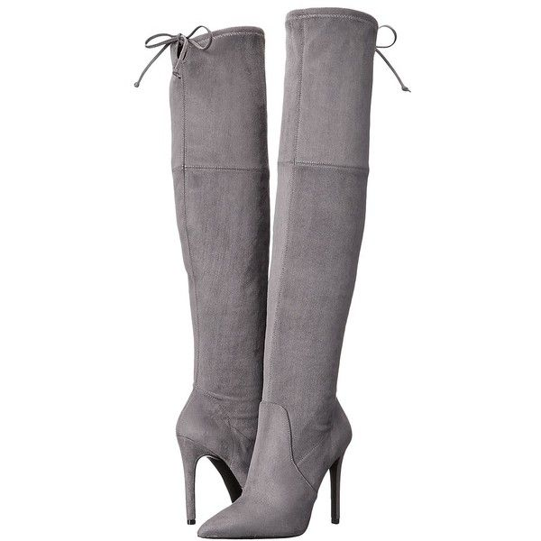 GUESS Akera (Gray) Women's Boots (£105) ❤ liked on Polyvore featuring shoes, boots, heels, knee-high boots, gray knee high boots, heels stilettos, stiletto boots, slip on boots and gray boots