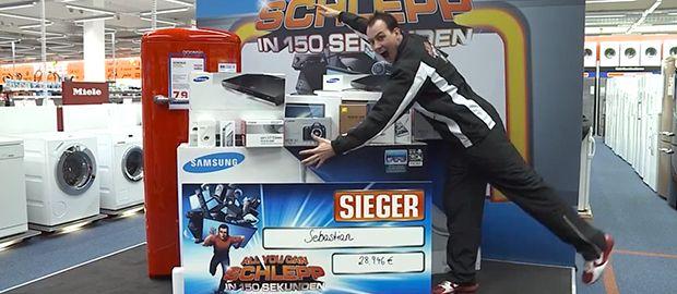Il gagne le droit de dévaliser un magasin de High Tech pendant 150 secondes !