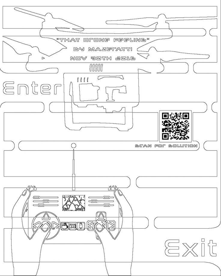 maze coloring page of the at drone feeling