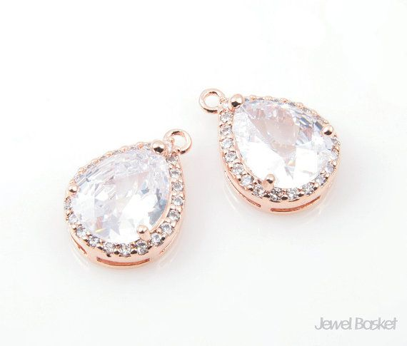 Teardrop Cubic Zirconia Pendant in Rose Gold with Sub Cubic - Large Size / 13mm x 18mm / CRG035-P2  - Highly Polished Rose Gold Plated over Brass (Tarnish Resistant) - Cubic Zirconia and Brass / 13mm x 18mm - 2pcs / 1pack