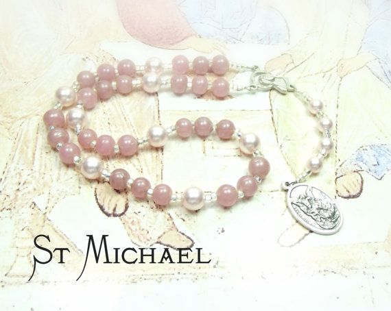 St MICHAEL CHAPLET with Swarovski Palest Pink Crystal Pearls and Cloudy Pink Glass beads with St Michael Medal