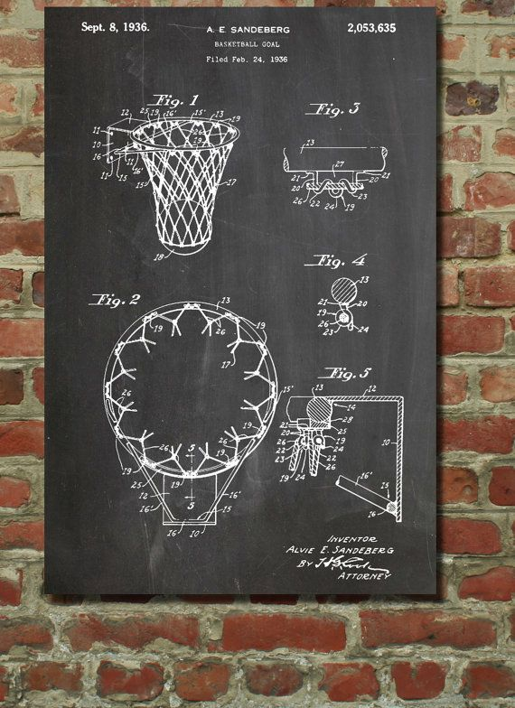 Basketball Goal 1936 Wall Art Poster by PatentPrints on Etsy