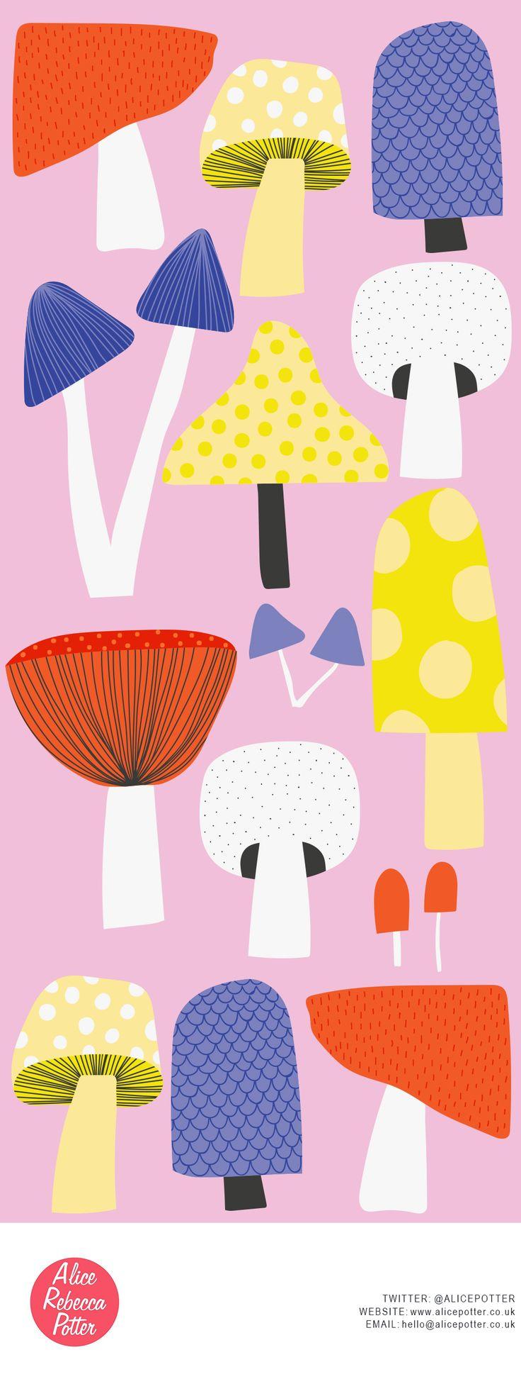 Food Illustration - Mushrooms - Food Icons - Editorial Illustration - Recipes - Surface Pattern Design - By Alice Potter Illustration www.alicepotter.co.uk