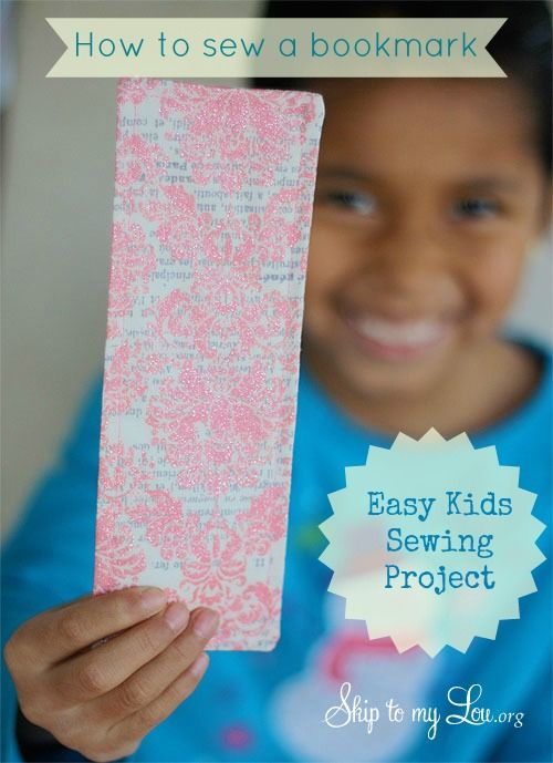 Teaching kids to sew. How to sew an easy bookmark www.skiptomylou.org