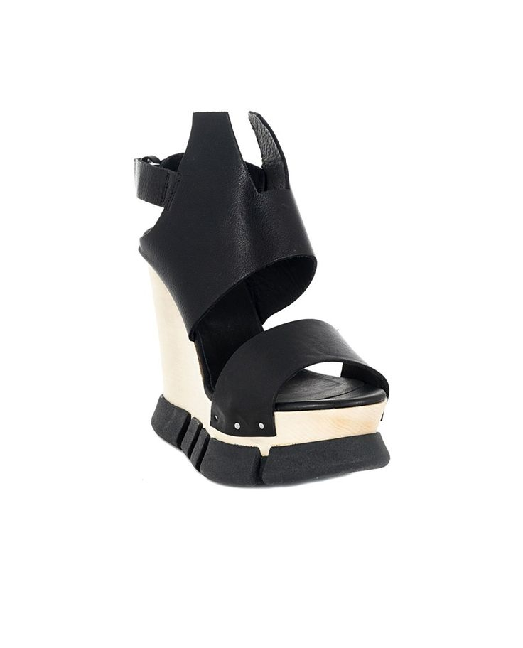 Black leather sandals maxi wood wedge rubber sole  closure with adjustable strap  behind the ankle Heel: 13 cm  Platform: 4,5 cm