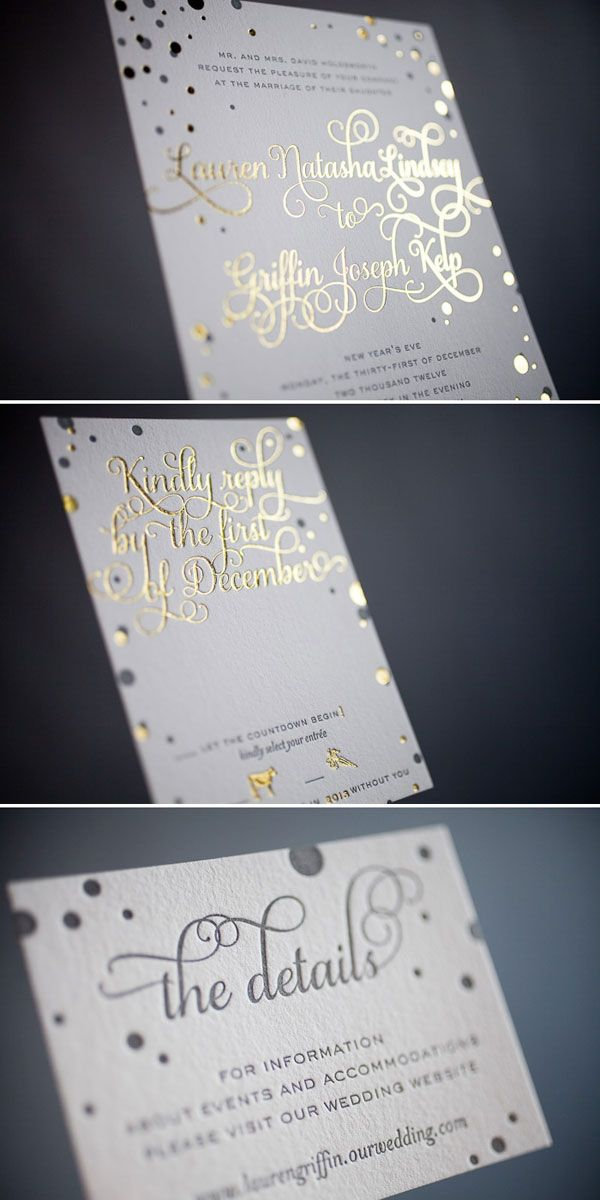 Oh gold — we all love it and can't seem to get enough of it! If you are including metallic details in your wedding day, consider using a gold foiling printing technique for your invitations