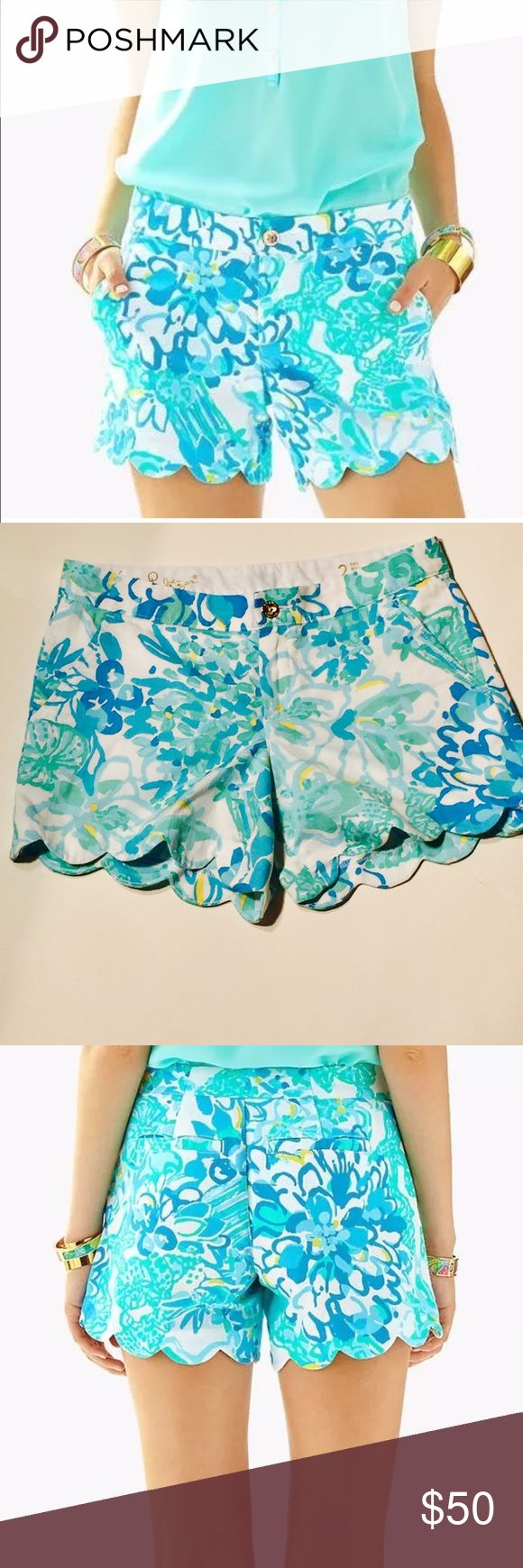 "Lilly Pulitzer Buttercup shorts Lilly Pulitzer  Buttercup Shorts - ""Resort White In A Pinch""The scalloped hem begs to be paired with fun wedges for a little lift!   In Jumbo Pique fabric:  The vibrant prints promise to stay just as bright as the day you brought them home no matter how many times you wash it  5"" Inseam, Garment Washed, Zip Fly Short With Scallop Hem. Lilly Pulitzer Shorts"