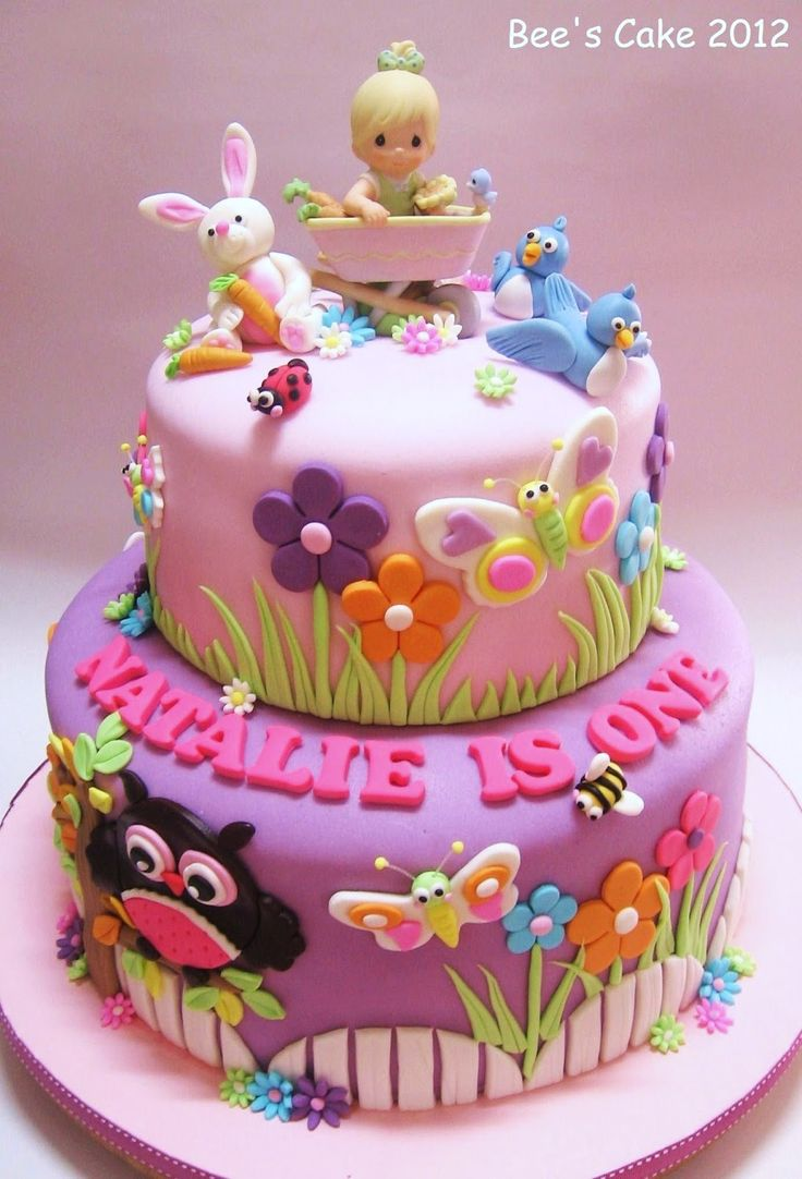 nicely decorated animals theme birthday cake - Garden Design Birthday Cake