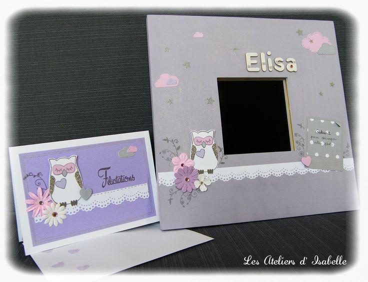Cadre miroir personnalisé. Cadeau de naissance original et sa carte assortie. Mauve, rose, blanc et argenté. Fleurs, hibou / chouette, nuages et étoiles.