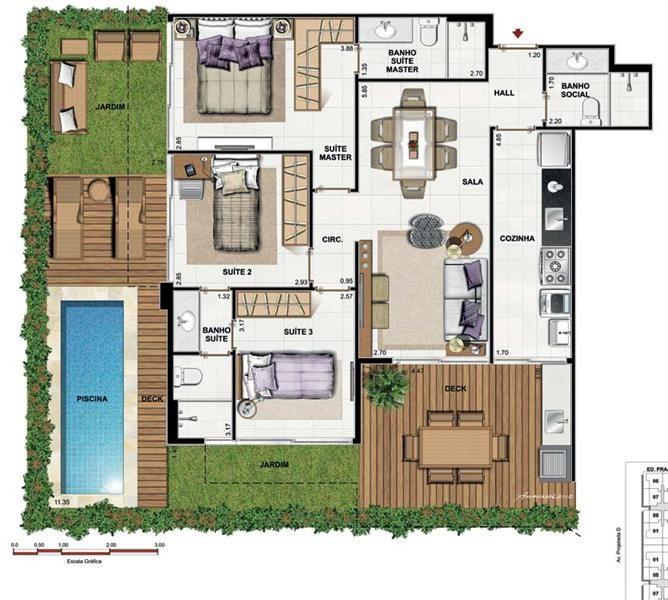plantas-de-casas-com-3quartos-gratis.jpg (668×600)