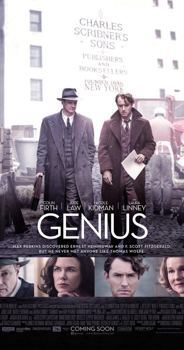 Directed by Michael Grandage.  With Colin Firth, Jude Law, Nicole Kidman, Laura Linney. A chronicle of Max Perkins's time as the book editor at Scribner, where he oversaw works by Thomas Wolfe, Ernest Hemingway, F. Scott Fitzgerald and others.